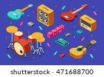 rock music equipment 3d...