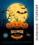 spooky pumpkins on cemetery.... | Shutterstock .eps vector #471693269