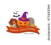 witch pumpkin and cemetery.... | Shutterstock .eps vector #471693344