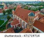 Small photo of Aerial top view, flat lay: Old Town in Vilnius, Lithuania: St Anne's and Bernadine's Churches, Lithuanian: Sv. Onos ir Bernardinu baznycios. Representative summer picture
