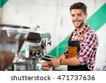 smiling waiter pours coffee at... | Shutterstock . vector #471737636