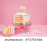 Colorful Birthday Cake On Pink