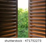 semi open dark wooden shutters... | Shutterstock . vector #471752273