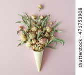 waffle cone with roses bouquet... | Shutterstock . vector #471753908