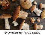 mushrooms  on a wooden... | Shutterstock . vector #471755009