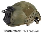 us army kevlar helmet with night vision mount isolated on whhite - stock photo