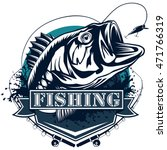 perch fish and fishing rod logo.... | Shutterstock .eps vector #471766319