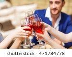 friends drinking wine on the... | Shutterstock . vector #471784778