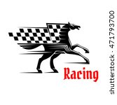Horse Race Icon With Racing...