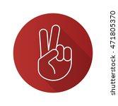 peace hand gesture flat linear... | Shutterstock .eps vector #471805370