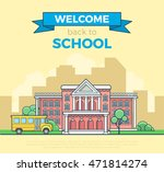 linear flat school bus and... | Shutterstock .eps vector #471814274
