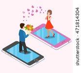 flat isometric couple date on...   Shutterstock .eps vector #471814304