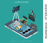 flat isometric video content... | Shutterstock .eps vector #471814343