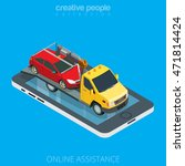 flat isometric tow truck... | Shutterstock .eps vector #471814424