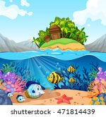 ocean view with island and fish ... | Shutterstock .eps vector #471814439