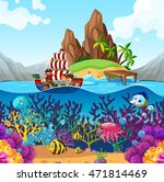 scene with pirate ship in the... | Shutterstock .eps vector #471814469