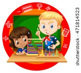 Boy And Girl With Abacus...