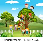 kids playing of tree in park | Shutterstock .eps vector #471815666