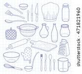 hand drawn outline kitchen... | Shutterstock .eps vector #471821960