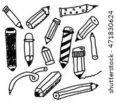 pencils sketch collection in... | Shutterstock .eps vector #471830624