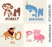 cute animal alphabet set  ... | Shutterstock .eps vector #471838190