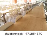 Stock photo empty table and chair in canteen cafeteria interior 471854870