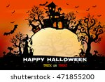 halloween night background with ... | Shutterstock .eps vector #471855200