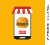 smartphone with hamburger on... | Shutterstock .eps vector #471857588