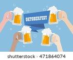 oktoberfest. people clinking...   Shutterstock .eps vector #471864074