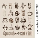 coffee collection   hand drawn... | Shutterstock .eps vector #471867608