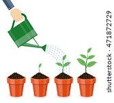 watering can and plants in pots ... | Shutterstock .eps vector #471872729