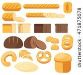 set bread  baguette  loaf  cake ... | Shutterstock .eps vector #471875078
