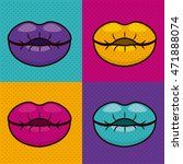 set lips female pop art... | Shutterstock .eps vector #471888074