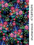 seamless floral pattern with... | Shutterstock . vector #471895694