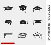 vector graduation cap icons | Shutterstock .eps vector #471903323