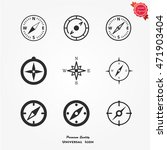 compasses icons set  compass...