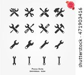 wrench vector icon set
