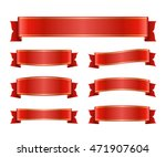 red ribbons set. satin blank... | Shutterstock .eps vector #471907604