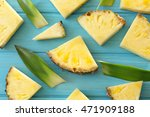 Pineapple Slices On Blue...