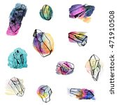 hand drawn doodles of crystals...   Shutterstock . vector #471910508