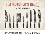 meat cutting knives set. poster ... | Shutterstock .eps vector #471914423