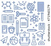 school supplies icons on lined... | Shutterstock .eps vector #471960179
