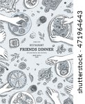 family dinner top view... | Shutterstock .eps vector #471964643
