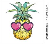 pineapple with glasses vector... | Shutterstock .eps vector #471967274