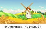 wheat field. windmill landscape....