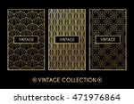 golden vintage pattern on black ... | Shutterstock .eps vector #471976864