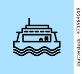 Ferry Boat Icon. Passenger And...