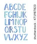 handwritten blue watercolor... | Shutterstock . vector #471987823