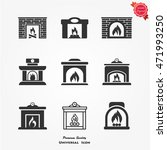 fireplace icons set vector flat ...