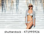 young sexy woman wearing hat ... | Shutterstock . vector #471995926